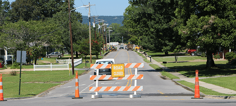 Cecil Street in Scottsboro Alabama is closed during month of July 2017.